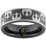 7mm Black Pipe Tungsten Carbide Star Wars Rebel Alliance Design