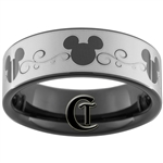 7mm Black Pipe Tungsten Carbide Mickey Mouse Design