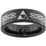 7mm Black Pipe Tungsten Carbide Zelda Design
