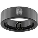 7mm Black Pipe Tungsten Carbide Fingerprint Design