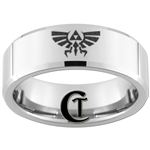 8mm Beveled Tungsten Carbide Zelda Skyward Sword Design