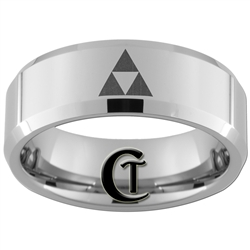 8mm Beveled Tungsten Carbide Zelda Design