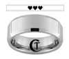 8mm Beveled Tungsten Carbide Zelda 8-Bit Heart Laser Design Ring
