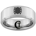 8mm Beveled Tungsten Carbide Spiderman Design