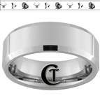 8mm Beveled Tungsten Carbide Buck Duck and Turkey Design Ring.