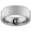 8mm Beveled Tungsten Carbide Satin Finish Ring