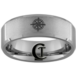 8mm Beveled Satin Finish Tungsten Carbide Nautical Compass Design Ring.