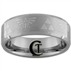 8mm Beveled Tungsten Carbide Satin Finish Zelda Ring Design