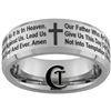 8mm Beveled Satin Finish Tungsten Carbide Religious Lord's Prayer Design