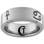 8mm Beveled Tungsten Carbide Stoned Finish Egyptian Relics Design Ring.