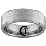 8mm Beveled Stoned Tungsten Carbide Swamper Tire Tread Designed Ring.