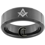 8mm Black Beveled Tungsten Carbide Masonic Design