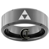 8mm Black Beveled Tungsten Carbide Zelda Design