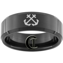 8mm Black Beveled Tungsten Carbide NAVY Anchor Design Ring.