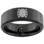8mm Black Beveled Tungsten Carbide Spiderman Design