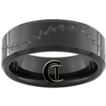 8mm Black Beveled Tungsten Carbide Baseball Stich Design