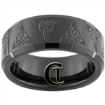 8mm Black Beveled Tungsten Carbide Celtic Triangle Design