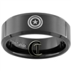 8mm Black Beveled Tungsten Carbide Captain America Design
