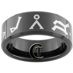 8mm Black Beveled Tungsten Carbide Stargate Atlantis Laser Design