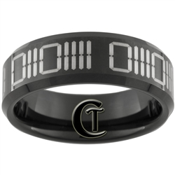 8mm Black Beveled Tungsten Carbide Laser Binary Code Design