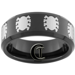 8mm Black Beveled Tungsten Carbide Multiple Spiderman Symbols Design