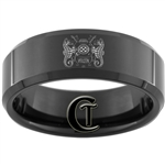 8mm Black Beveled Tungsten Carbide Navy Master Diver Design Ring.