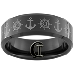 8mm Black Beveled Tungsten Carbide NAVY Ships Wheel & Anchor Design.