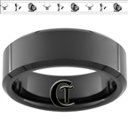 8mm Black Beveled Tungsten Carbide Buck Duck and Turkey Design Ring.