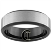 8mm Black Beveled Tungsten Carbide Satin Finish Ring