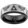 8mm Black Beveled Tungsten Carbide Zelda Laser Design