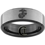 8mm Black Beveled Tungsten Carbide Stone Finished Marines Eagle Globe and Anchor Design.