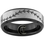 8mm Black Beveled Stoned Finish Tungsten Carbide Baseball Stitch Design