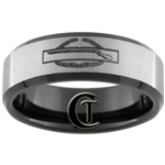 8mm Black Beveled Stoned Finish Tungsten Carbide Army Combat Infantry Badge Design Ring.