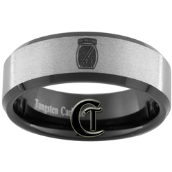8mm Black Beveled Stone Finished Tungsten Carbide Army 10th Mountain Division Design Ring.