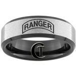 8mm Black Beveled Stone Finish Tungsten Carbide ARMY Ranger Design Ring.
