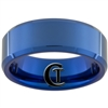8mm Blue Beveled Tungsten Carbide Ring