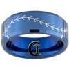 8mm Blue Beveled Tungsten Carbide Baseball Stitch Design Ring