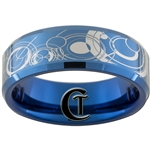 8mm Blue Beveled Tungsten Carbide Doctor Who Design