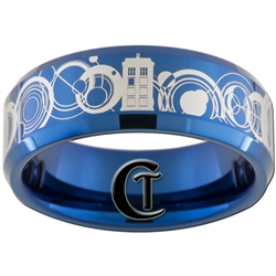 8mm Blue Beveled Tungsten Carbide Doctor Who Tardis & Gallifreyan Design