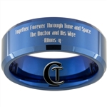 8mm Blue Beveled Tungsten Carbide Doctor Who Gallifreyan and Quote Design