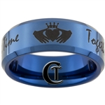 8mm Blue Beveled Tungsten Carbide Black Lasered Claddagh & Doctor Who Quote Design