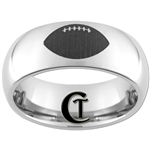 8mm Dome Tungsten Carbide Lasered Football Ring Design