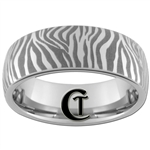 8mm Dome Tungsten Carbide Zebra Design