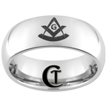 8mm Dome Tungsten Carbide Masonic Pastmasters Design