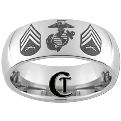 8mm Dome Tungsten Carbide Marines and Sergeant Rank Design.