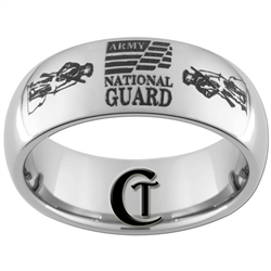 8mm Dome Tungsten Carbide Army National Guard Design Ring.