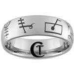 8mm Tungsten Carbide Dome Music Runes Design Ring