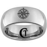8mm Dome Tungsten Carbide Compass Rose Design Ring.