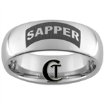 8mm Dome Tungsten Carbide Army Engineer Sapper Design Ring.