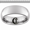 8mm Dome Tungsten Carbide White Tire Tread Design Ring